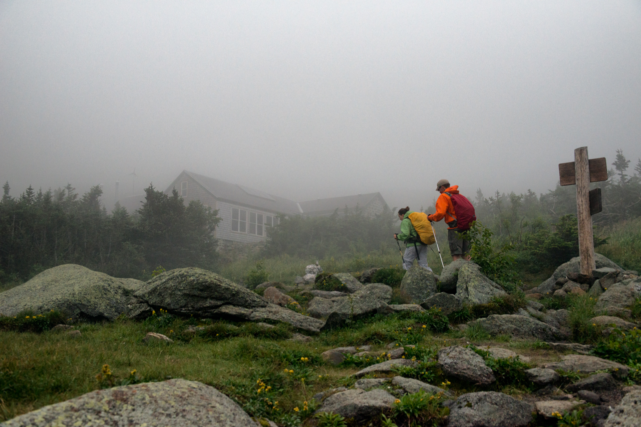 Hikers arriving at Madison Spring Hut